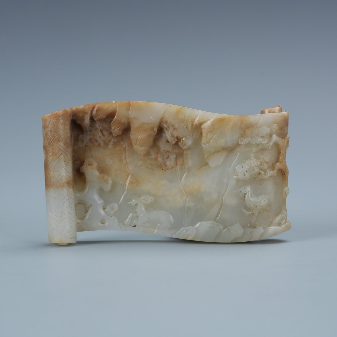 White Jade Carving Deer in Forest