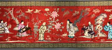 Red  Blue Silk Embroidery Panel