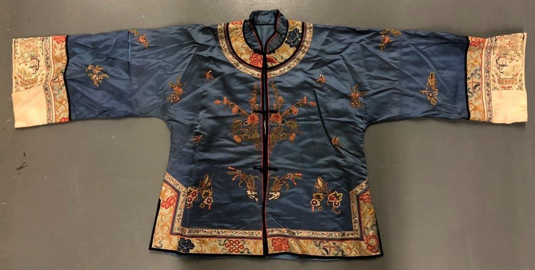 Light Blue Silk Jacket,Grasshoppers & Flower