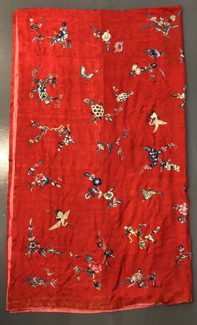 Red Silk embroidered Wall Hanging