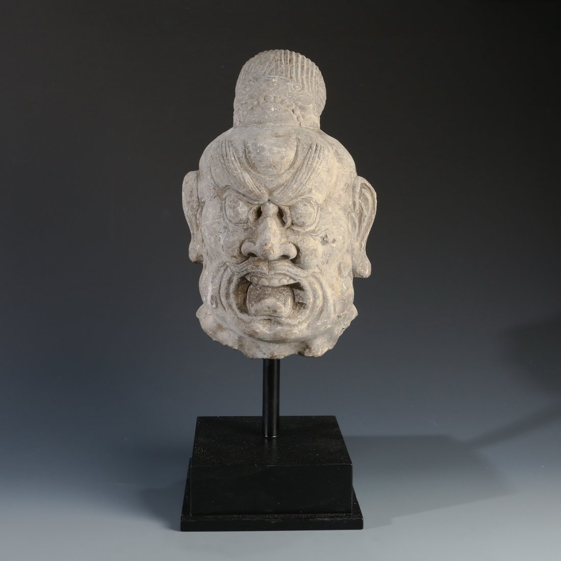 Chinese Stone Carving Of A Warrior Head