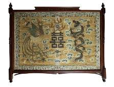 LARGE CHINESE SILK EMROIDERY MOUNTED IN WOOD FRAME