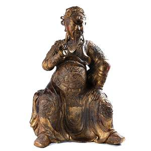 VERY LARGE GILT-LACQUERED BRONZE FIGURE OF GUANDI