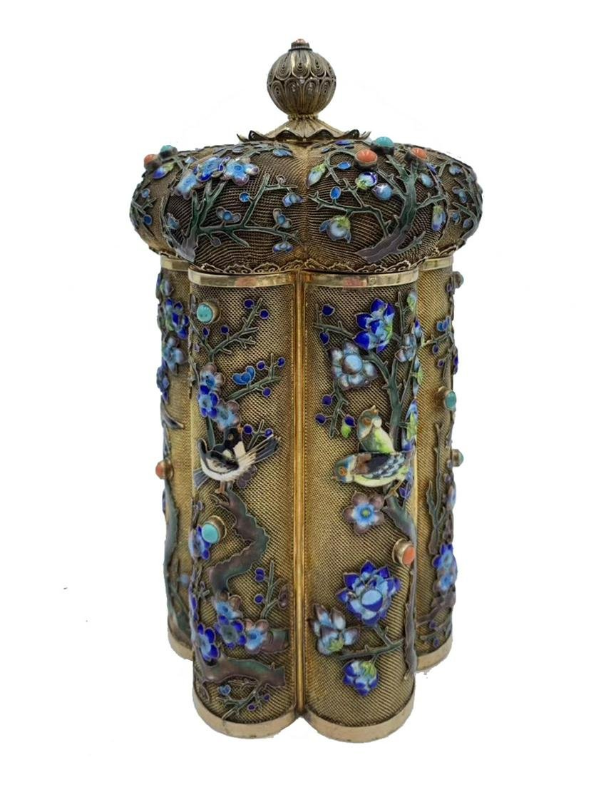 CHINESE EXPORT ENAMELED SILVER GILT FILIGREE TEA CADDY