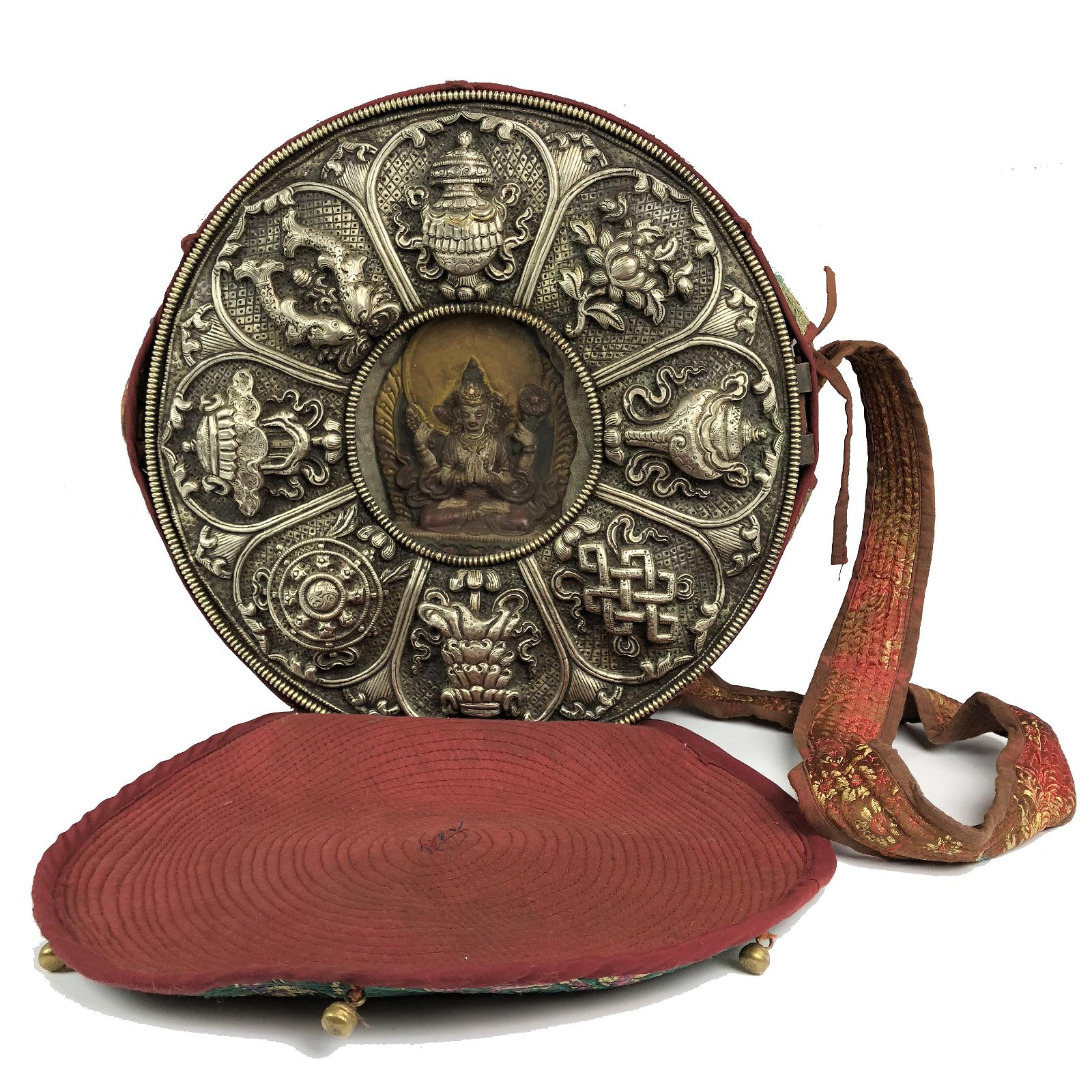 LARGE VERY EXQUISITE TIBETAN SILVER PRAYER BOX