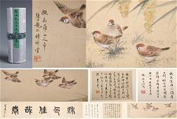 CHINESE SCROLL PAINTING OF BIRDS AND CALLIGRAPHY