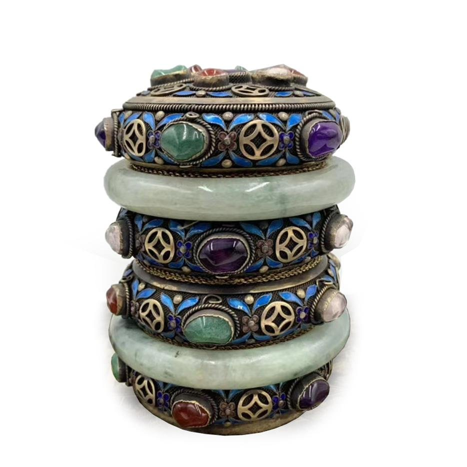 CHINESE SILVER GEM-INLAID TEA CADDY WITH JADE BANGLES