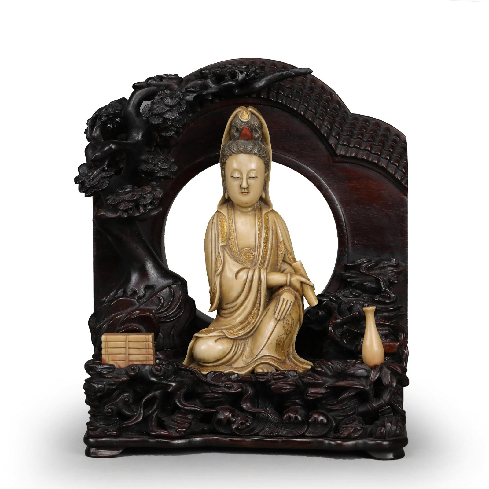 CARVED SOAPSTONE FIGURE OF GUANYIN WITH HARDWOOD BASE