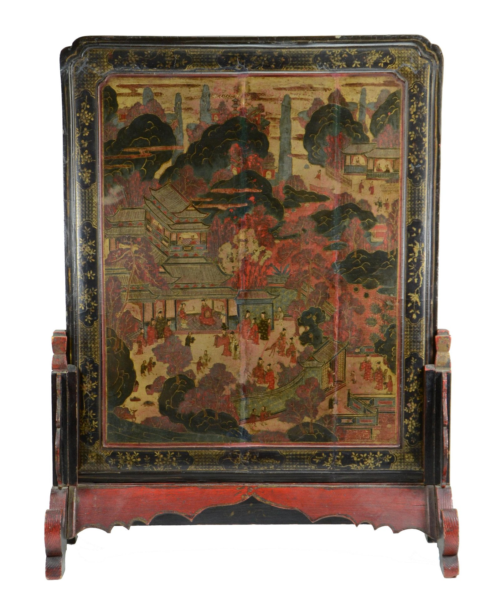 17/18TH C. CHINESE LACQUER SCHOLAR'S TABLE SCREEN