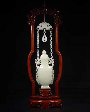 FINE HETIAN WHITE JADE CHAINED VASE AND COVER