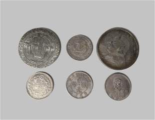 GROUP OF SIX OLD COINS