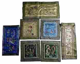 SET OF SEVEN SILK EMBROIDERED PANELS