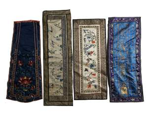 SET OF FOUR SILK EMBROIDERED PANELS