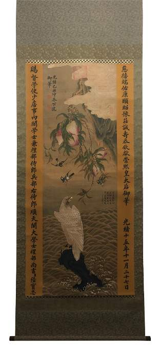 HANGING SCROLL PAINTING OF EAGLE UNDER PEACH BRANCH