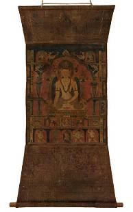 13TH CENTURY TIBETAN THANGKA DEPICTING AKSOBHYA