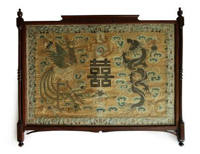 LARGE SILK EMBROIDERED DRAGON&PHOENIX PANEL IN FRAME