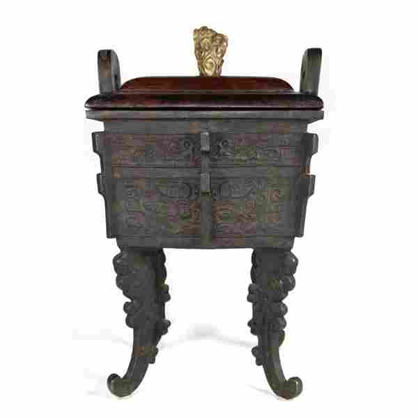 17/18TH C. LARGE BRONZE ARCHAIC STYLE FANG DING CENSER
