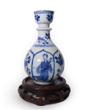 QING DYN. BLUE AND WHITE 'FIGURAL' PORCELAIN VASE