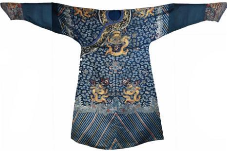 CHINESE BLUE-GROUND 'NINE DRAGON' SILK ROBE