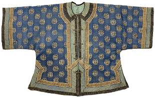 CHINESE BLUE-GROUND EMBROIDERED SILK ROBE