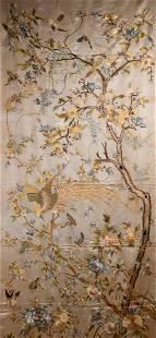 VERY LARGE SILK KESI 'PHOENIX & FLOWERS' PANEL