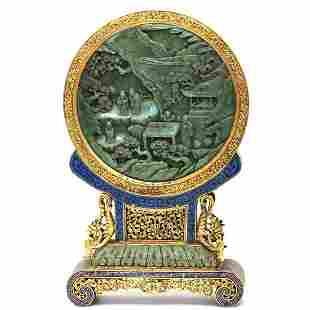 SPINACH JADE SCREEN IN CLOISONNE ENAMEL STAND