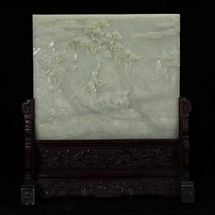QING FINELY CARVED JADE 'FIGURAL' TABLE SCREEN ON STAND