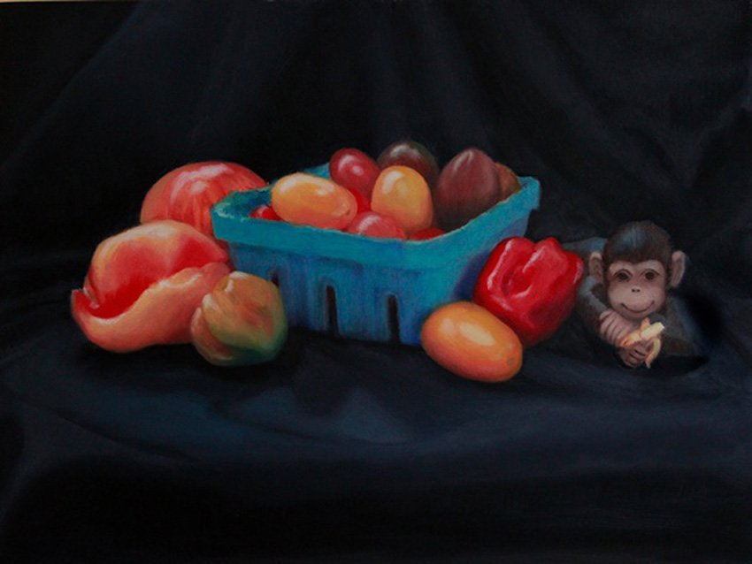 """Tomatoes, Peppers and an Intruder""  Joyce Zeller"