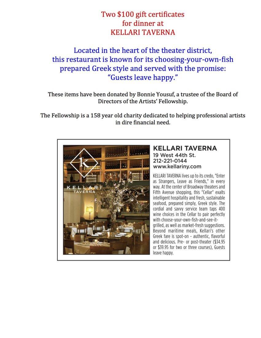 Gift Certificates for Dinner at Kellari Taverna