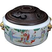 Chinese porcelain censer with scholar�s scenes 19th C