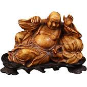 Chinese soapstone carving of a Chinese immortal circa