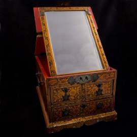 Antique Chinese gold lacquered wooden mirror box with