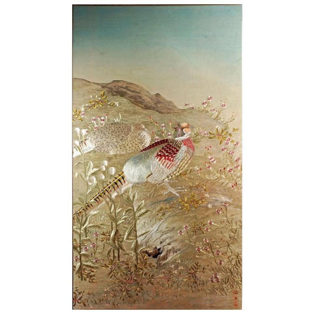 Korean Embroidered Chasu Panel of pheasants on silk