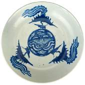 Wanli period blue and white porcelain Phoenix plate