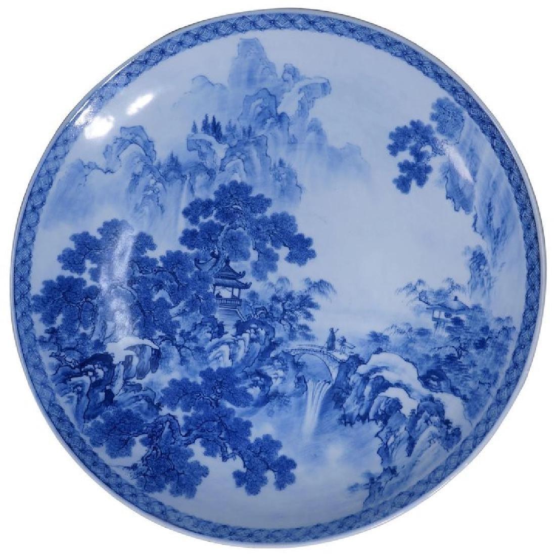 Extremely large Japanese Edo Period porcelain blue and
