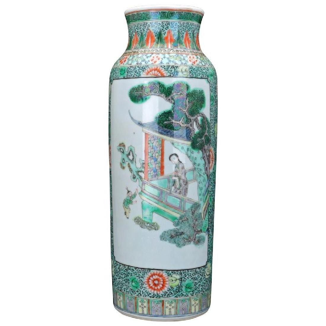 Chinese porcelain Famille verte Rolwagen sleeve vase