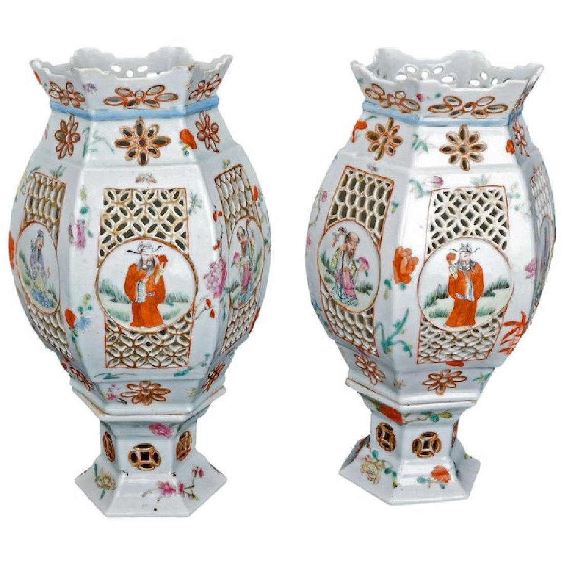 Matched pair of Chinese Qing porcelain wedding lamps