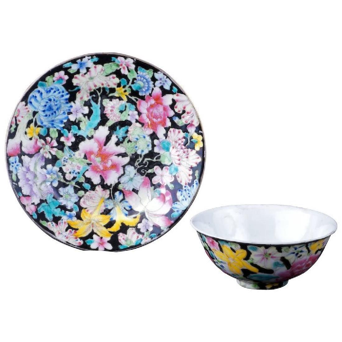 Chinese porcelain famille noir thousand flower design