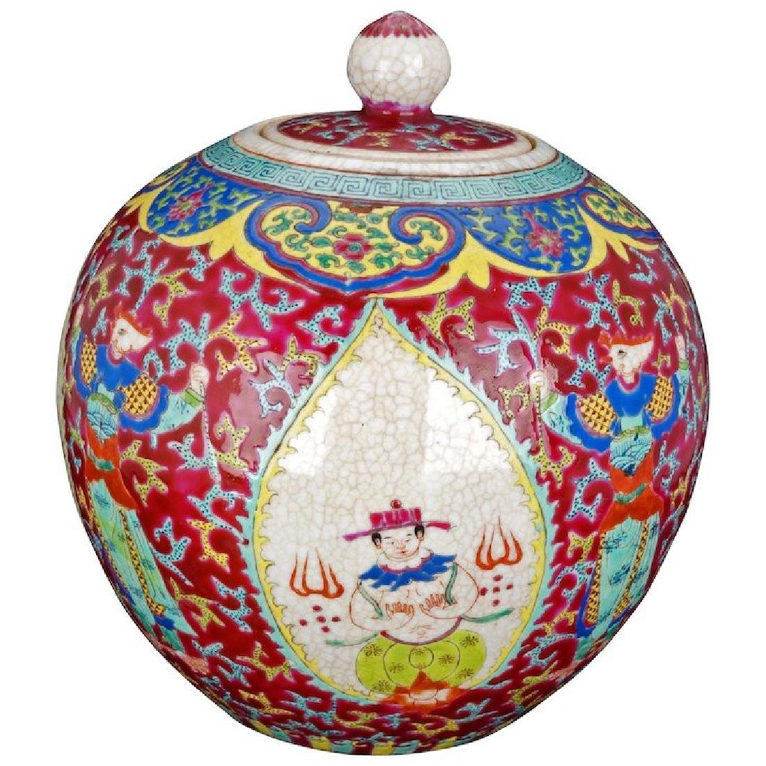 Antique Chinese Ginger Jar with over glaze enamel