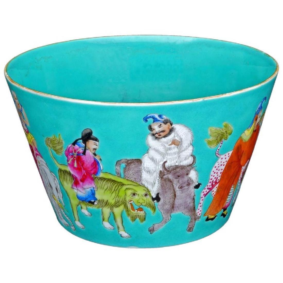 Chinese over glaze enamel immortals design porcelain