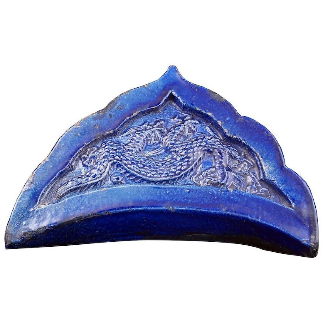 Chinese blue roof tile with five-claw dragon design