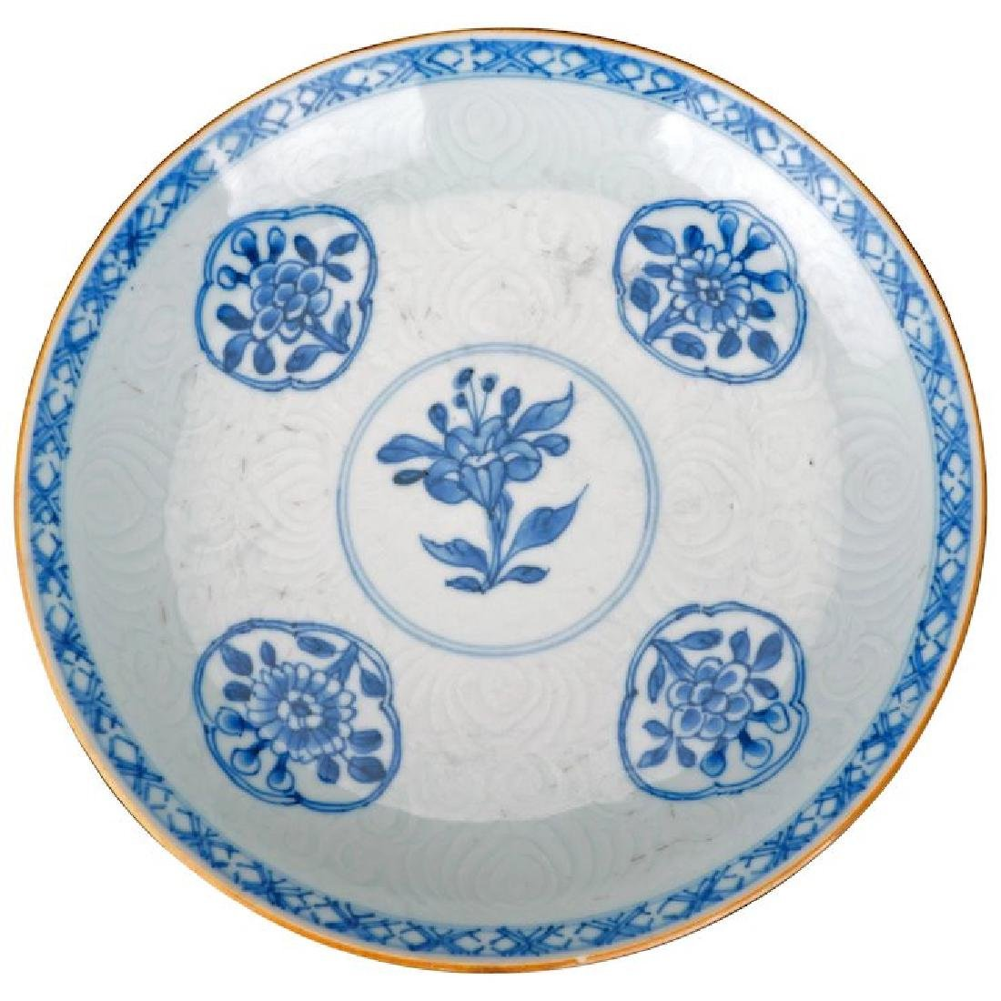 Kangxi blue and white porcelain plate with incised