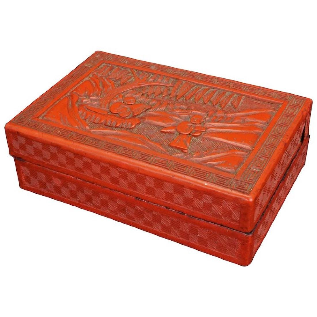Chinese cinnabar rectangular lacquer box on wood 19th