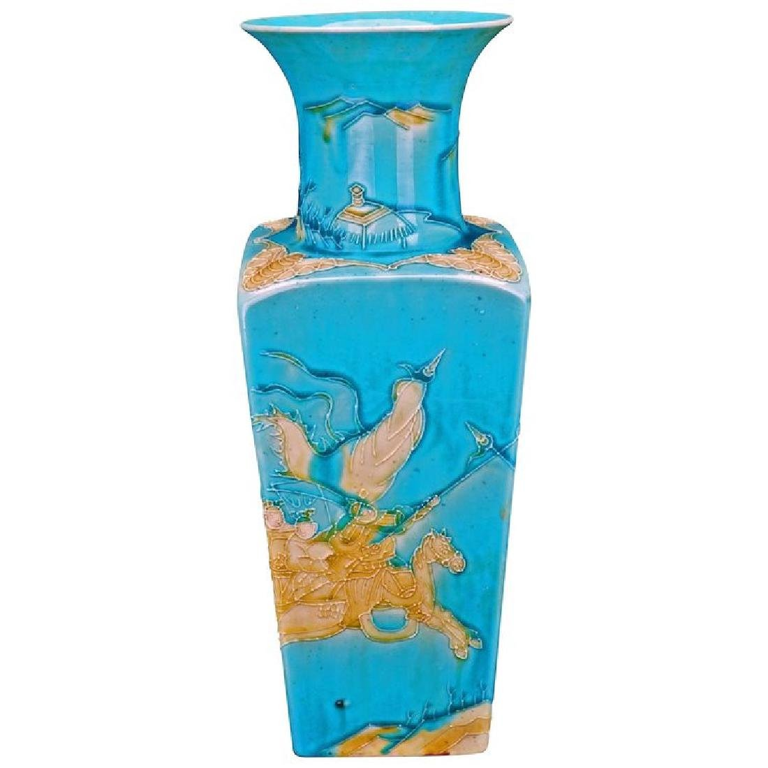 Chinese turquoise glazed porcelain square tapering vase