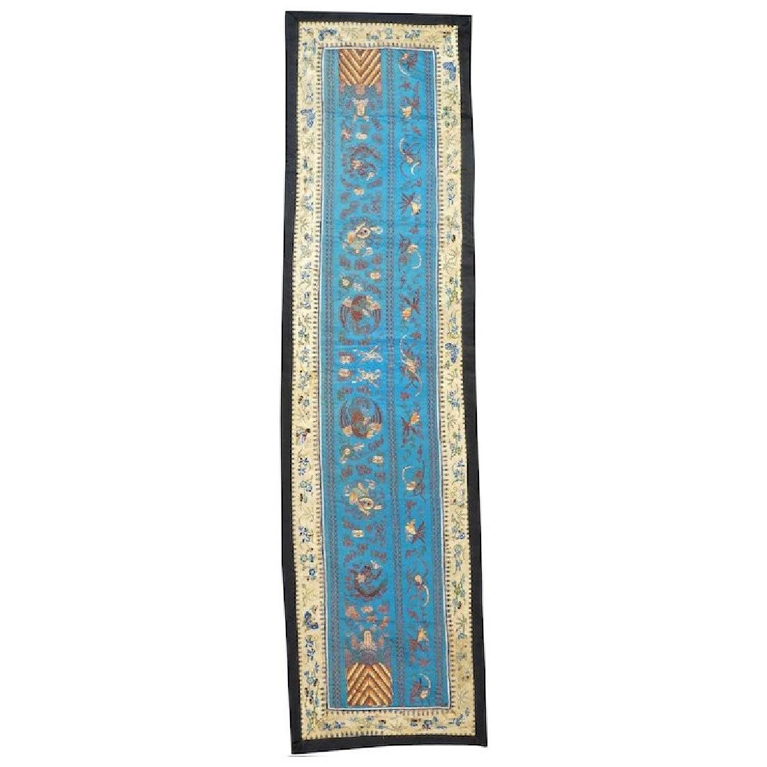 Chinese silk embroidery panel with gold threads with