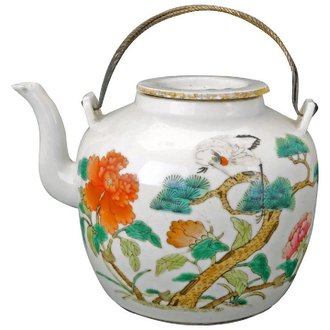 Chinese famille rose porcelain teapot with over glaze