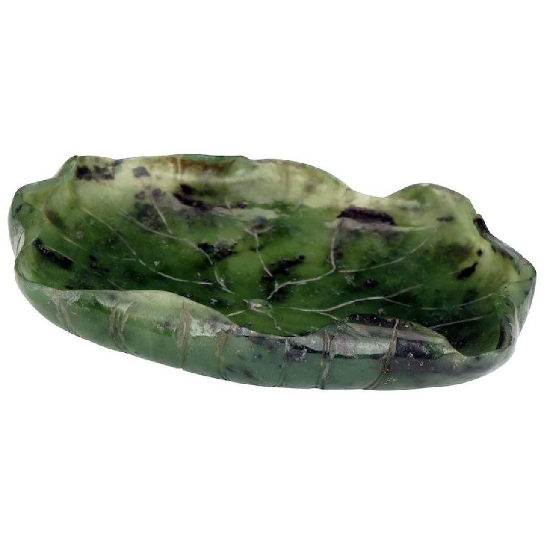 Chinese blue green jade brush wash in the shape of a
