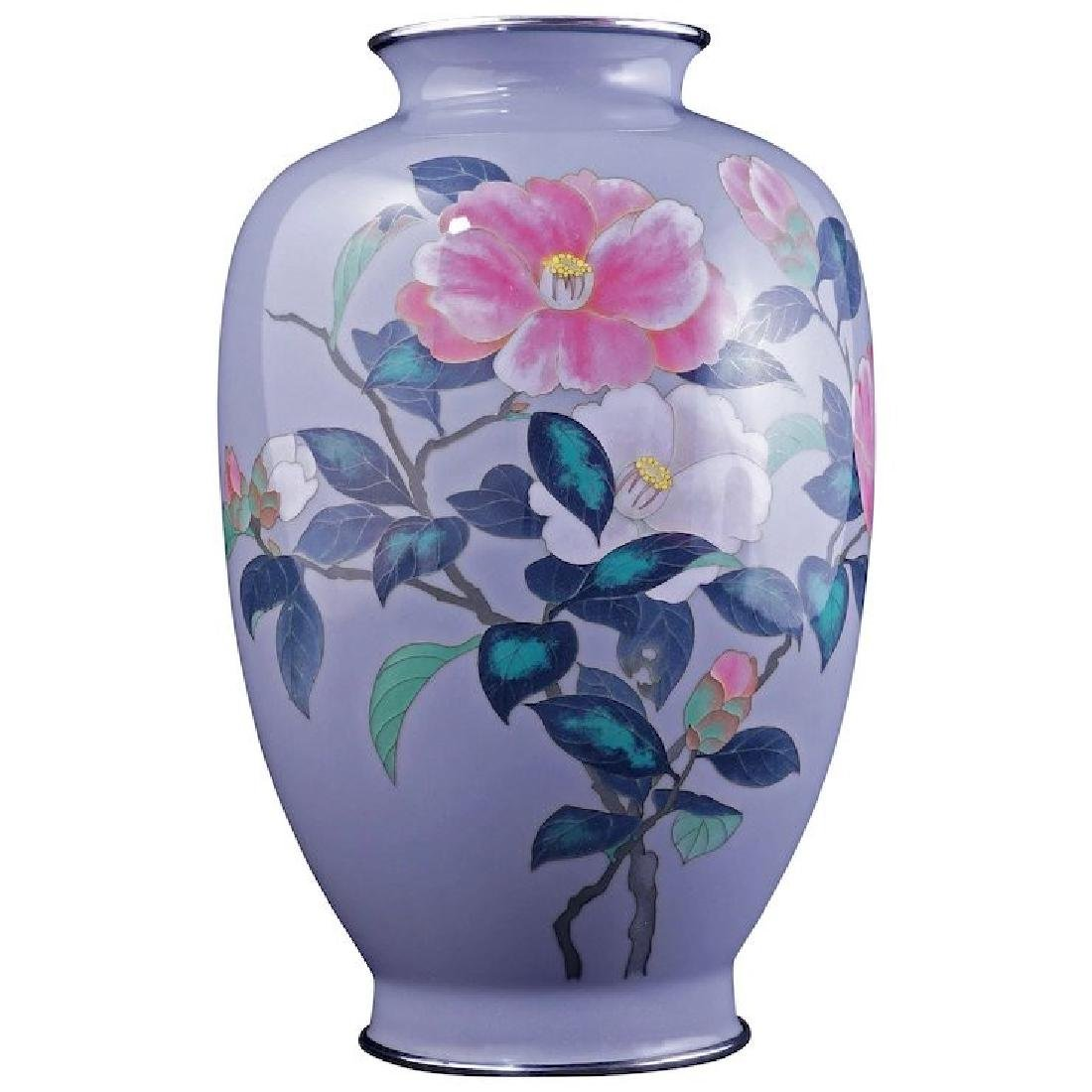 Japanese cloisonné vase with camellia design early