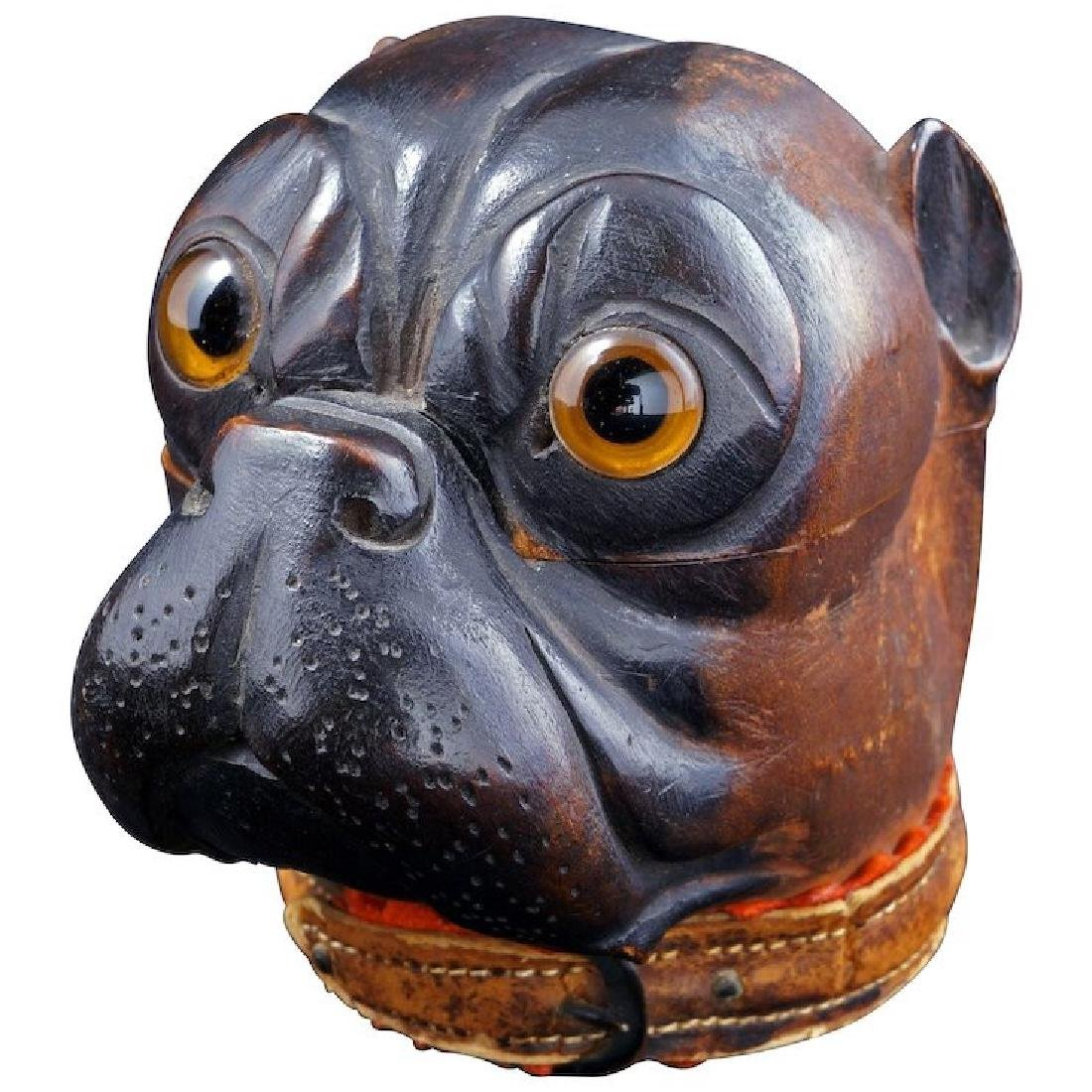 Black Forest German wood inkwell of a bulldog late 19th