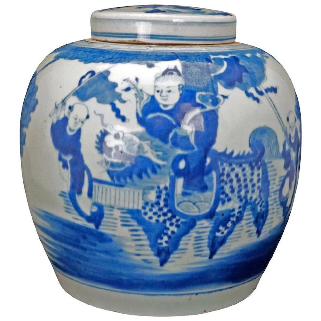 Chinese blue and white ginger or storage jar with lid